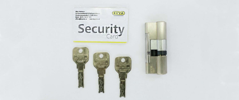 sicherheitszylinderschloss mit sicherungskarte von evva